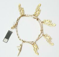 Pilgrim Gold Tone Fairy Wings  With Pearls Bracelet *Great Gift Idea*