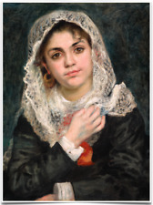 PIERRE-AUGUSTE RENOIR LISE IN WHITE SHAWL ART PRINT ON REPRODUCTION CANVAS 18X24