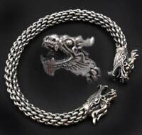 33G DOUBLE DRAGON BRAIDED 925 STERLING SILVER  MENS WOMENS BRACELET BANGLE CUFF