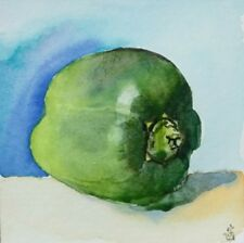 Hand Painted Original Watercolor Green BELL PEPPER Still Life Signed by JV