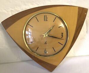 Vintage 1950s Triangular Wooden French Jaz Wall Clock Original Battery Movement