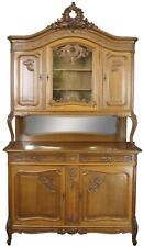 BUFFET LOUIS XV ROCOCO ANTIQUE FRENCH 1900 SERVER OAK GLASS 5-DOOR 2-DR