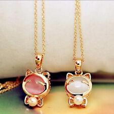 Cute Lucky Cat Pendant Necklace Cat Eye Opal Faux Pearl Girls Fashion Jewelry
