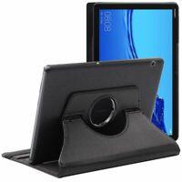 Coque Huawei MediaPad T5 10.1 Housse Etui Tablette Rotatif 360 PU Cuir, Noir