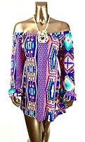 VOLL *NEW 1X, 2X, 3X OFF-SHOULDER MULTI GEO BELL SLV BOHO TUNIC DRESS