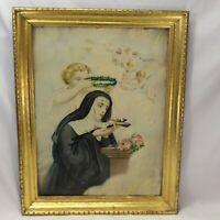 St. Rita of Cascia Religious Tin Lithograph Print 1900 John Duffy Nun Jesus