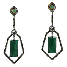 18K Solid Gold Sterling Silver 33.4ct Emerald Gemstone Diamond Dangle Earrings