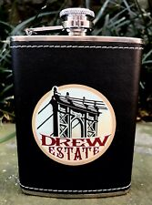 Drew Estate Cigars Logo Whiskey Flask, Faux Leather