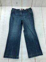 Talbots Womens High Rise Relaxed Fit Stretch Straight Blue Denim Jeans Size 14