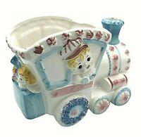 Ceramic Baby Train Planter Vintage Nursery Decor Blue Pink Flowers Japan 4678