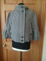 Bnwt Ladies Delancey Dog Tooth Short Jacket Wool Blend  Flute Sleeves Size 12