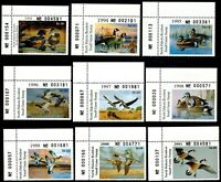 ND12 - ND20 (9) Plate Stamps MNH,1993 - 2001 North Dakota State Duck Stamp