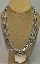 """Signed JOAN RIVERS Silvertone 10 Strands Round Pendant 19"""" Necklace"""