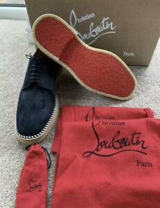 Christian Louboutin Shoes Davilocrepe Navy Suede Derby Shoes UK 6 EU 40 New Rare