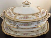 Vintage Wedgwood Etruria England Tureen w / Under Plate Pink Roses & Gold Trim