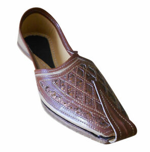 Men Shoes Black Mojaries Indian Handmade Khussa Leather Jutties Flat US 7-9