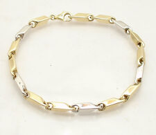"Mens 8.5"" Bullet Style Link Bracelet Real 14K Yellow White Two-Tone Gold"