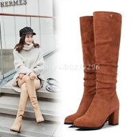 Wadenhohe Stiefel Damen Elegant Boots Faux-Wildleder Stiefel Hochabsatz Gr:33-43