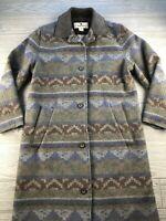 Woolrich Womens Brown Horizontal Stripe Coat Flat Collar Wool Blend Button M