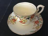 BONE CHINA CUP & SAUCER BY SALISBURY ENGLAND RED YELLOW FLOWERS GOLD TRIM