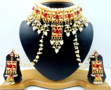 RED MEENA KUNDAN GOLD TONE CHOKER NECKLACE SET BOLLYWOOD BRIDAL WEAR JEWELRY