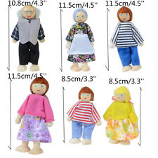 Wooden Doll House Family Set x 6 Pretend Play Flexible Dolls for Kids