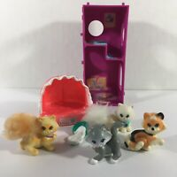 Vintage Littlest Pet Shop Cats Cat Climbing Tower & Cat Bed Persian Kenner 1990s