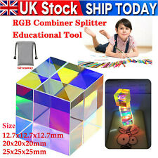 More details for cmy optic prism cube - optical glass prism, rgb dispersion six-sided uk stock !