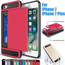 Card Pocket Wallet Shockproof Hybrid Armor Case Cover For Apple iPhone 7 Red