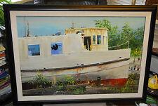 John Berkey Tugboat Boat Yard Large Original Painted Art Fine Painting shipyard