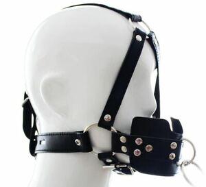 PU Leather Muzzle Gag Rubber Ball Head Hood Strap Harness Bondage Mask BDSM #23