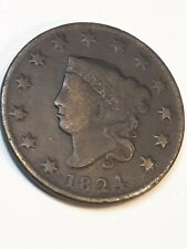 1824 & 1829 Coronet Head Copper Large Cents ~ Both Better Dates Nice - 1¢ Coins