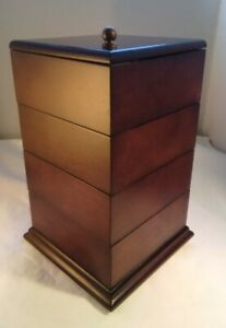 Bombay Company Mahogany 4 Drawer Swivel Jewelry Box