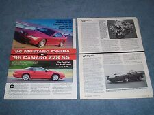 1996 Mustang Cobra vs. Camaro Z/28 SS Vintage Info Article ----From 1995---