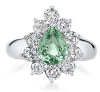Certified 1.78cttw Paraiba Tourmaline 1.45cts Diamond 14KT White Gold Ring