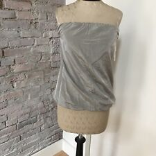 Donna Karan Tube Top Strapless Blouse Gray imported Fabric 6
