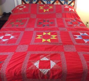 Quilt Homemade/ Quilt or Bed Cover Red Multicolor Colors Polyester 96 x 74