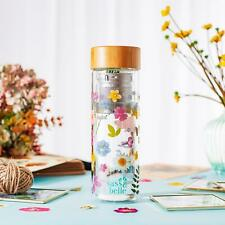 Sass & Belle Pressed Flowers Glass Water Bottle