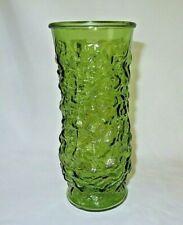 Vintage Anchor Hocking Milano Avocado Green Glass Vase MCM