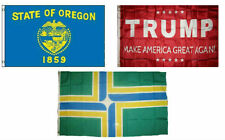 3x5 Trump Red & State of Oregon & City of Portland Wholesale Set Flag 3'x5'