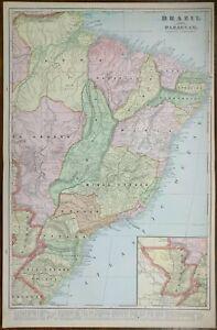 "Vintage 1901 BRAZIL PARAGUAY Map 14""x22"" Old Antique Original SAO PAULO SALVADOR"