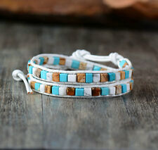 Turquoise Bead Friendship Bracelet Wrap White Beach Surfer Chakra Leather Agate