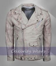 Mens Retro Brando Motorbiker Style Fashion Vintage White Waxed Leather Jacket
