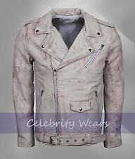 Mens Retro Brando Motorbiker Style Fashion Vintage White Waxed Leather Jacket