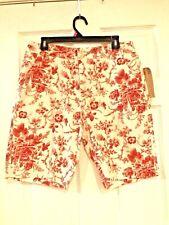Women's Khaki & Company Red Floral Bermuda Shorts Size 8 NWT