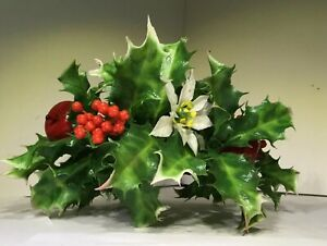 """Plastic 3"""" Candle Ring Centerpiece Holly Apples Berries Poinsettias Christmas"""