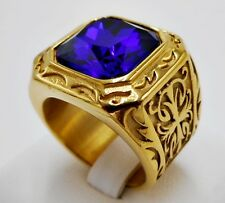 MEN RING BLUE SAPPHIRE STAINLESS STEEL GOLD CROSS SQUARE MEDIEVAL BIKER SIZE 8