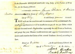 1812Early Am Doc> ADMINISTRATORS OF ESTATE PELEG BORDEN OF DIGHTON IS INSOLVENT