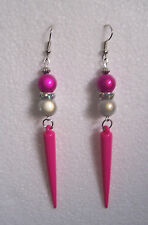 Pink Spike and Miracle Bead Earrings - colour choice - clip-on or pierced