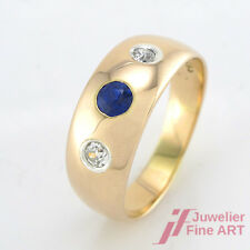 Ring -14K GG -1 Saphir + 2 Diamanten ca. 0,22 ct TW/SI - 5,9 g -Gr. 60